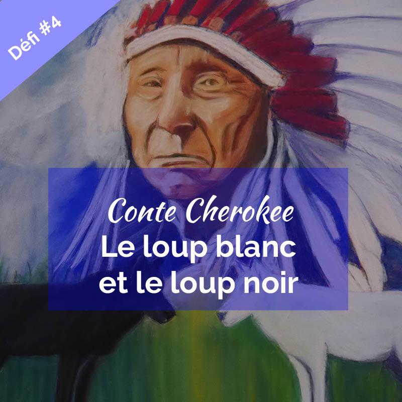 illustration Conte Cherokee le loup blanc et le loup noir