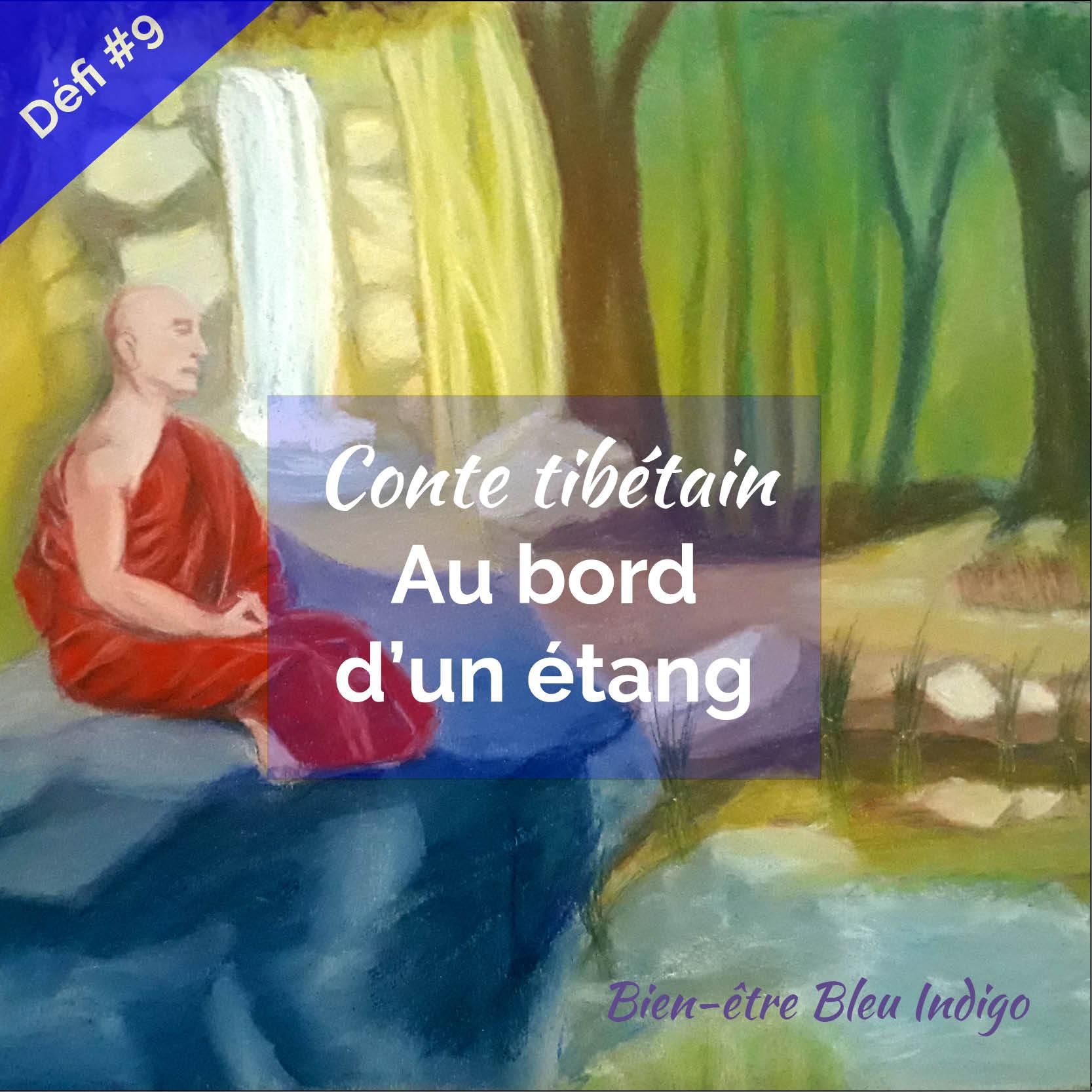 conte tibétain au bord d'un étang