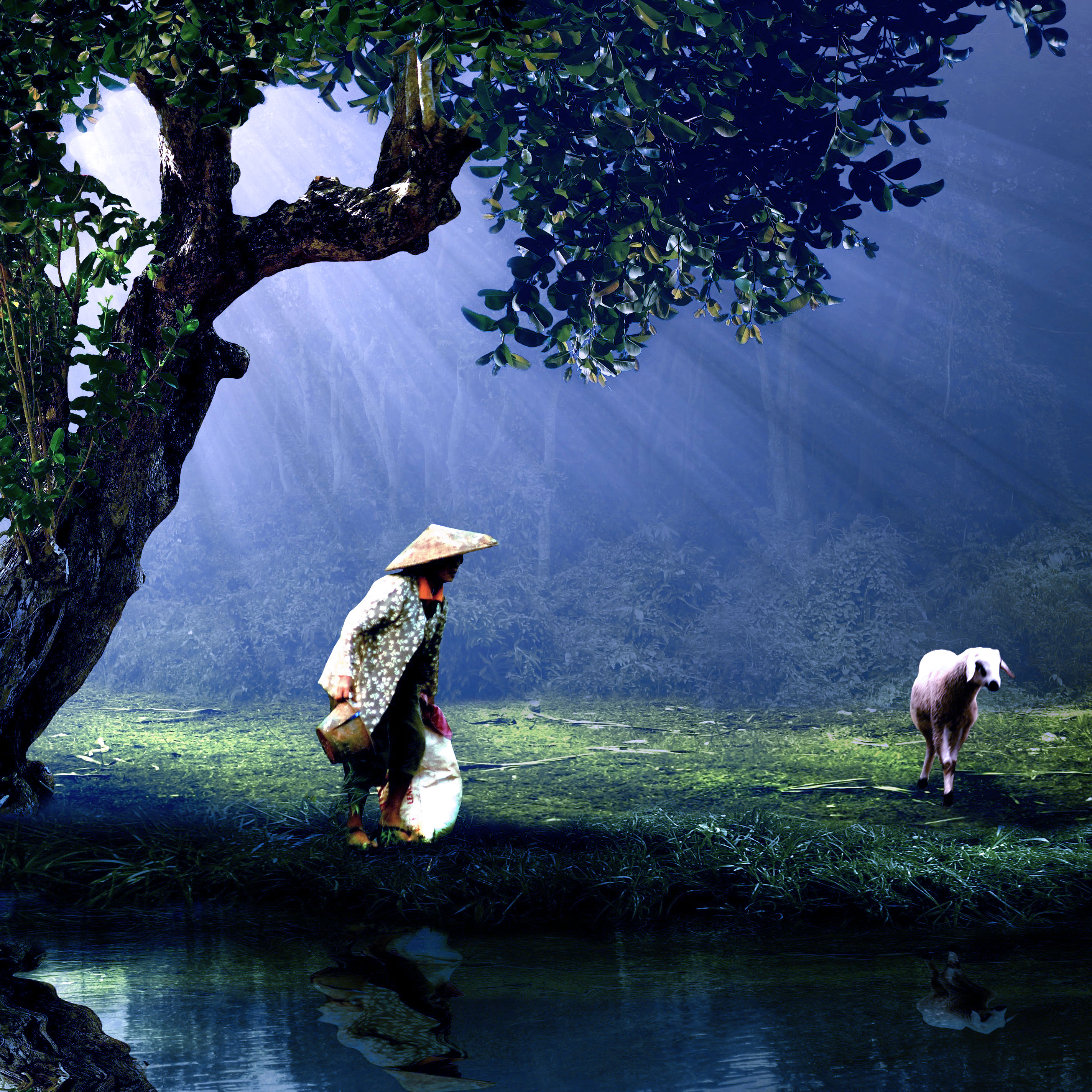 une femme âgée avec un mouton conte la pierre précieuse d'un sage