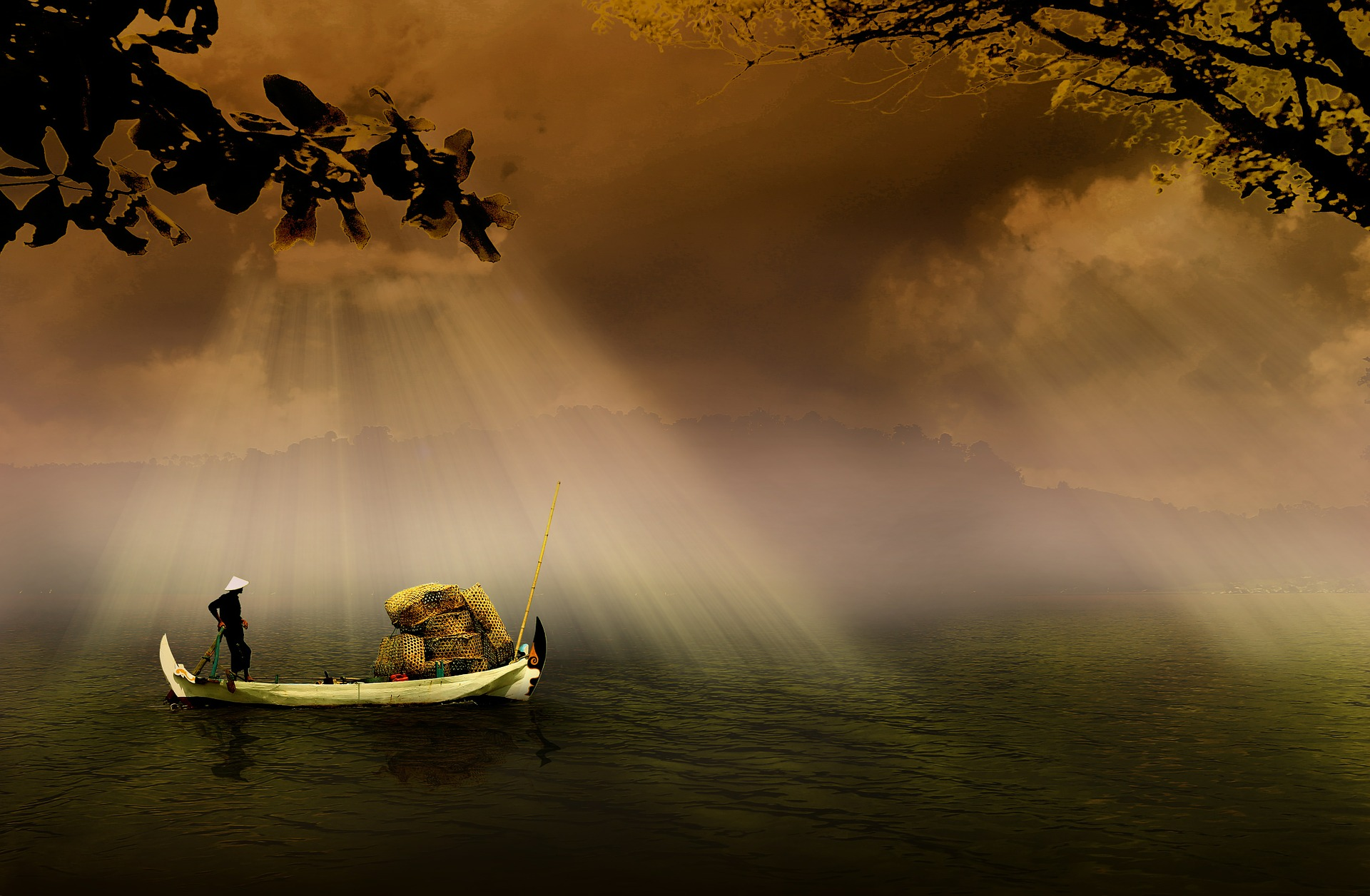 pecheur sur lac calme pour comprendre la paix